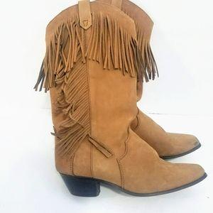 Santa Fe Boot Co. Vintage Western fringe Boots 6.5